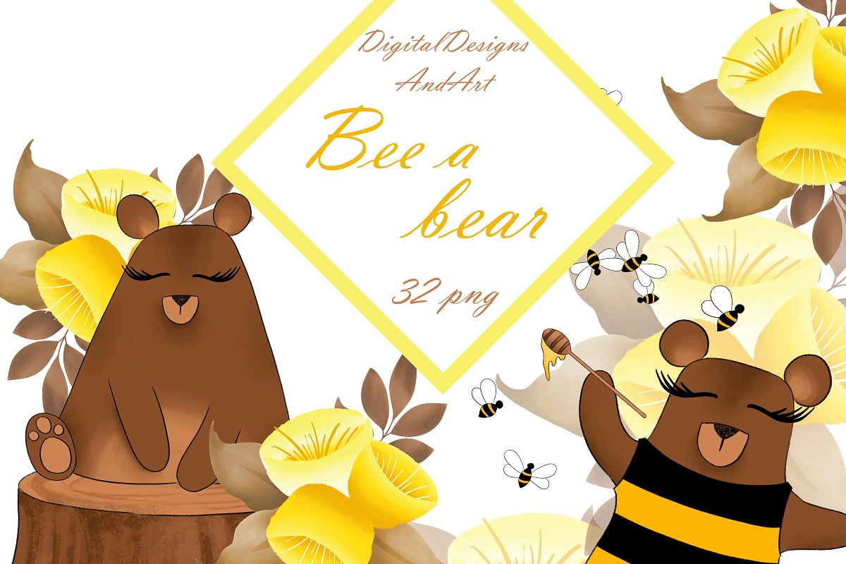 A illustrations creative market. Clipart bee bear