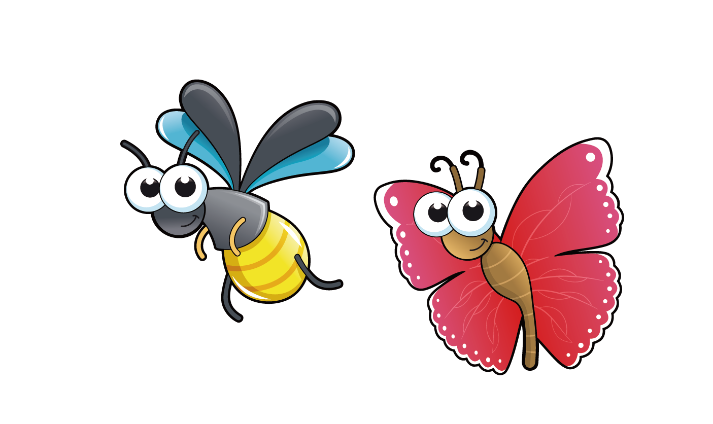 Clipart butterfly bee. Insect cartoon drawing clip