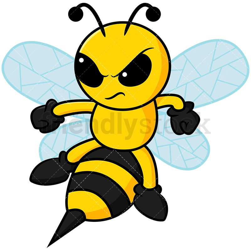 Angry about to sting. Clipart bee character