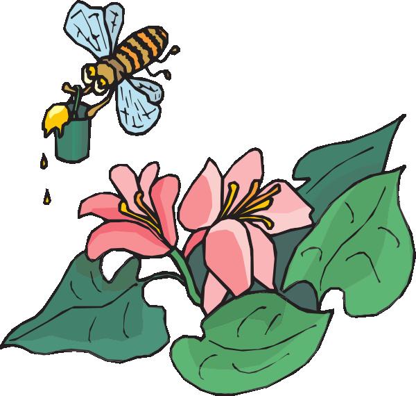 With pollen clip art. Clipart bee flower