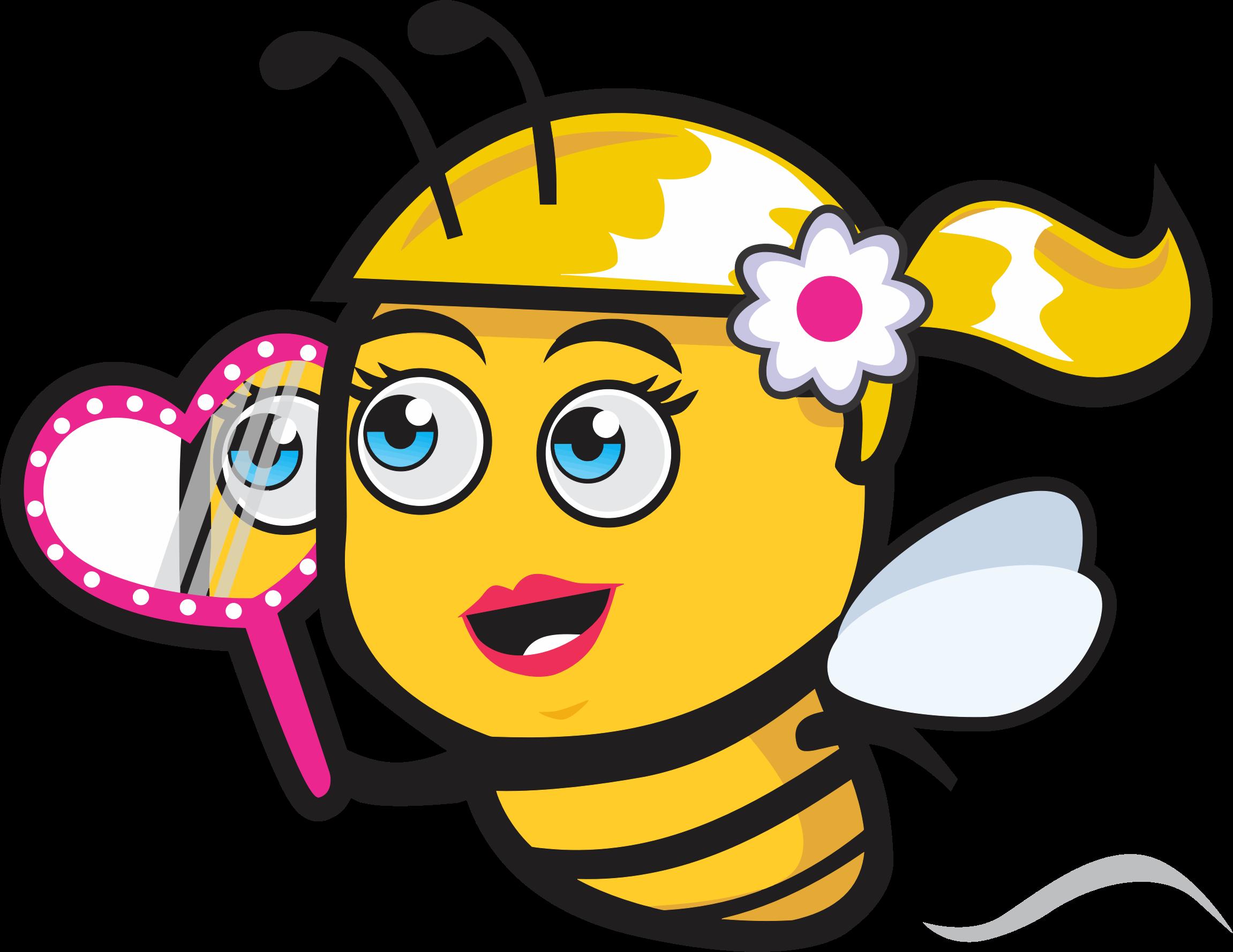 Female bee with big. Mirror clipart cartoon