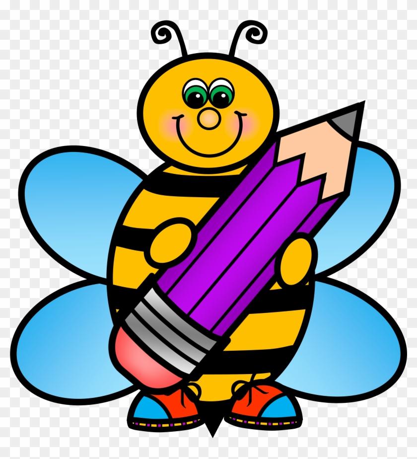 Bees child clip art. Clipart bee school