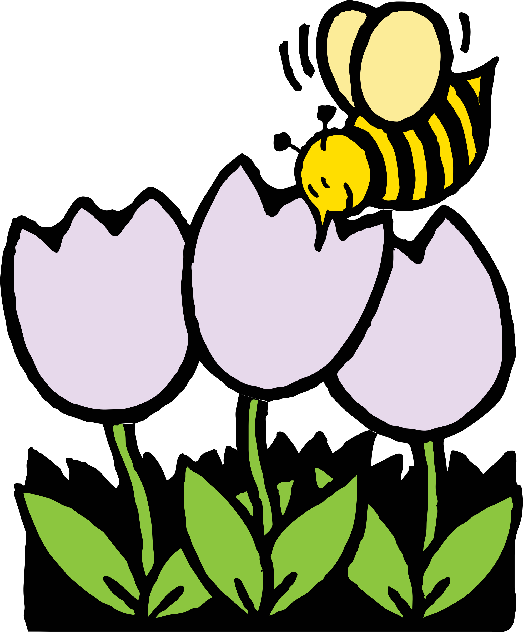Clipart flower insect. Bee and flowers big