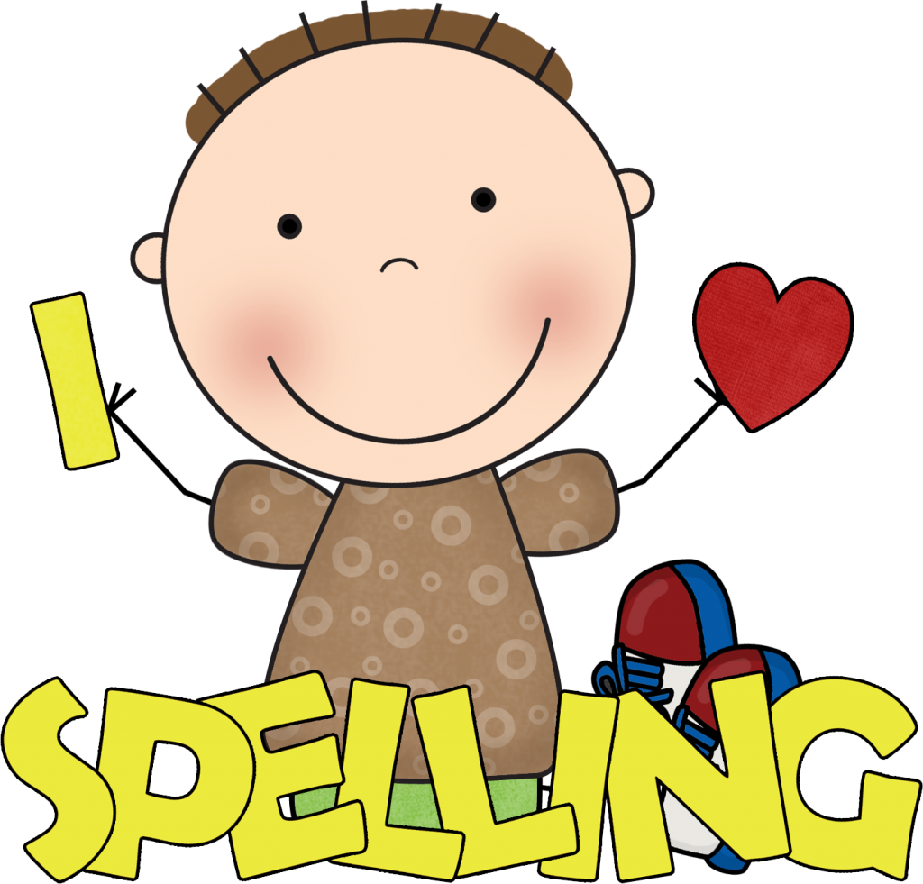 Student spelling test bee. Square clipart happy