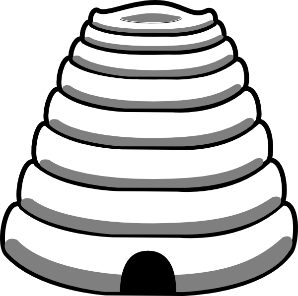 Bee hive outline clip. Honeycomb clipart black and white