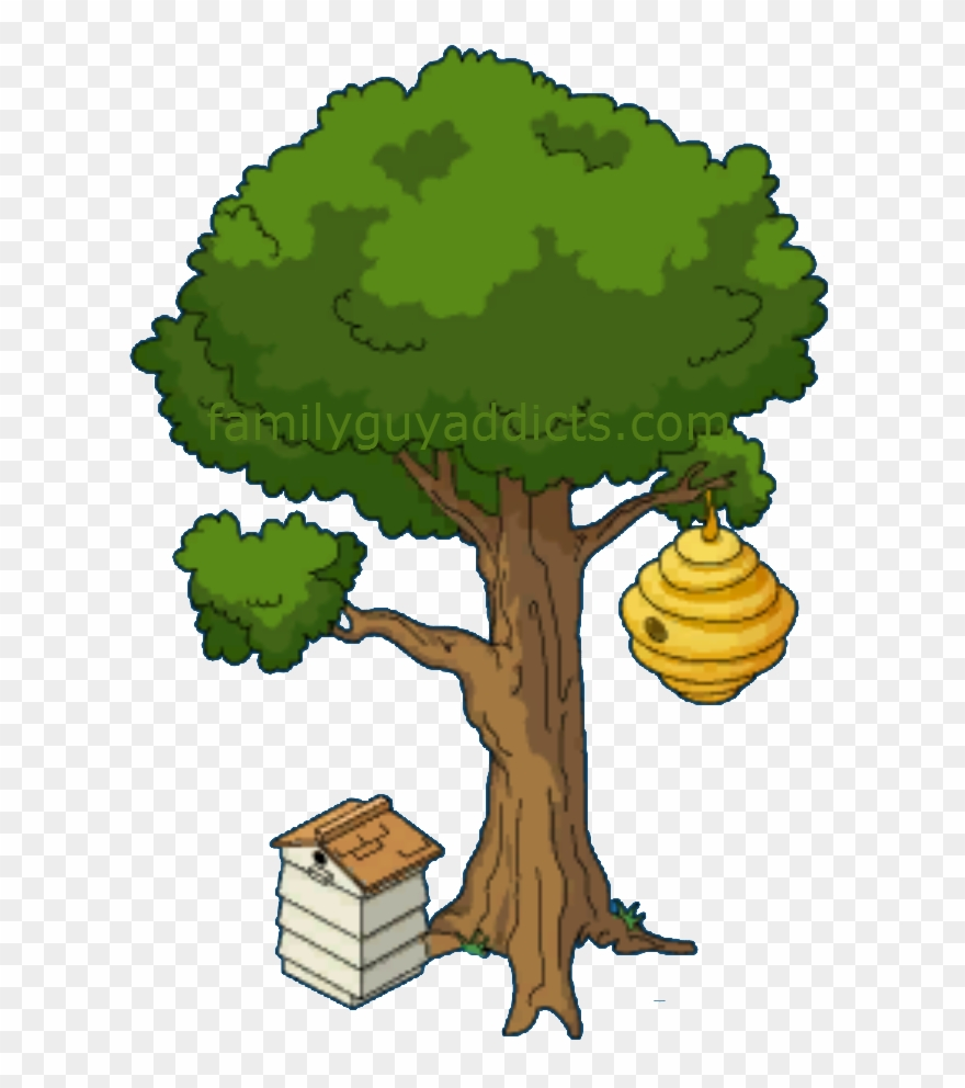 Beehive on a www. Honeycomb clipart tree drawing