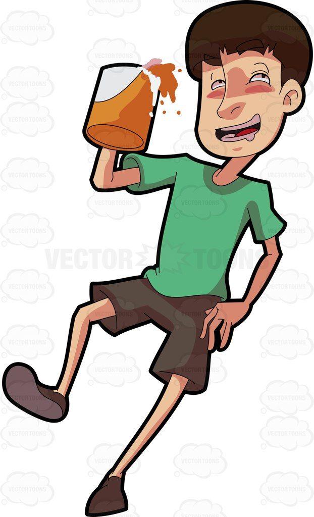 A drunken holding mug. Clipart beer beer man