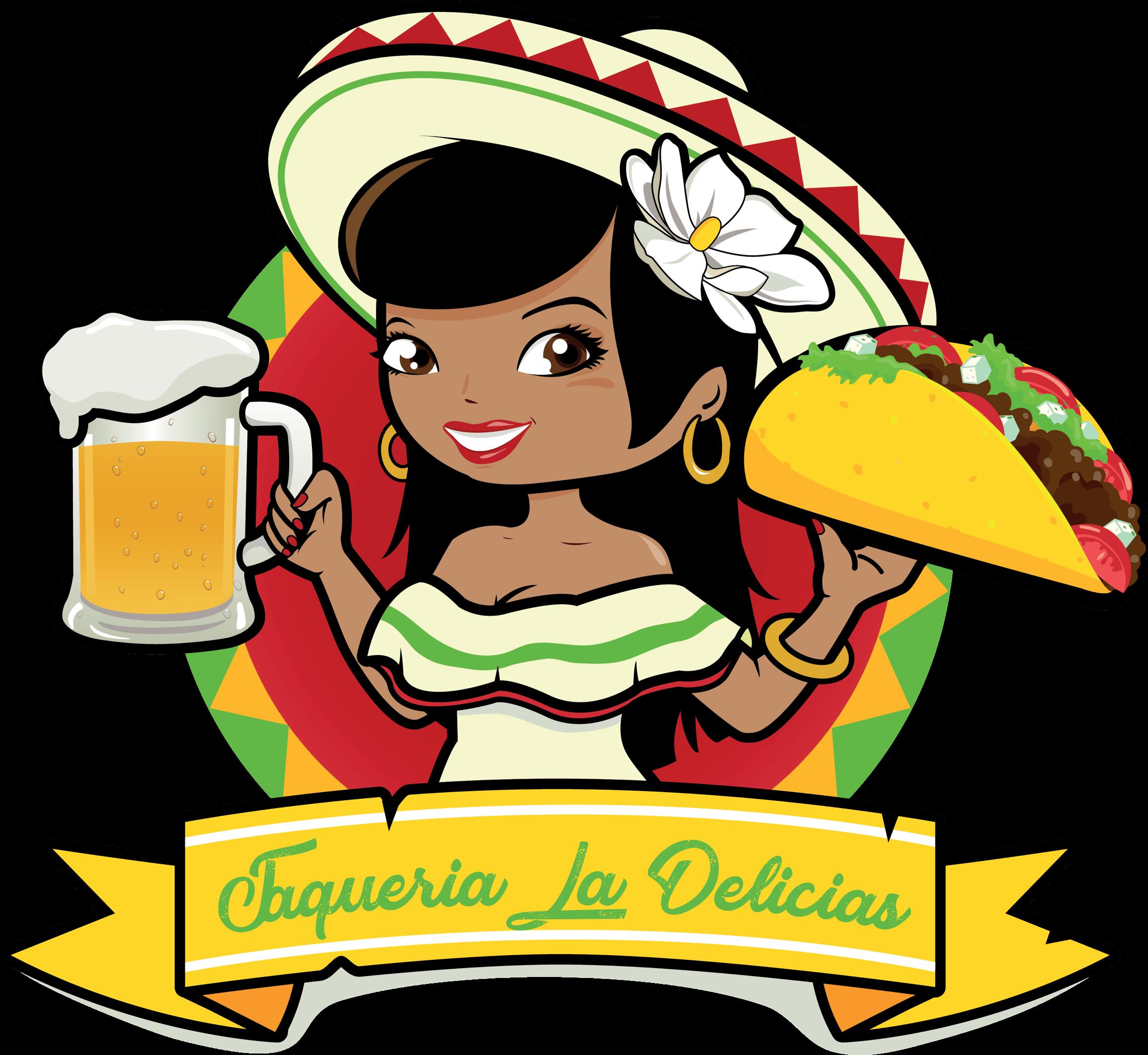 Tacos clipart taco night. Mexican cuisine woman clip