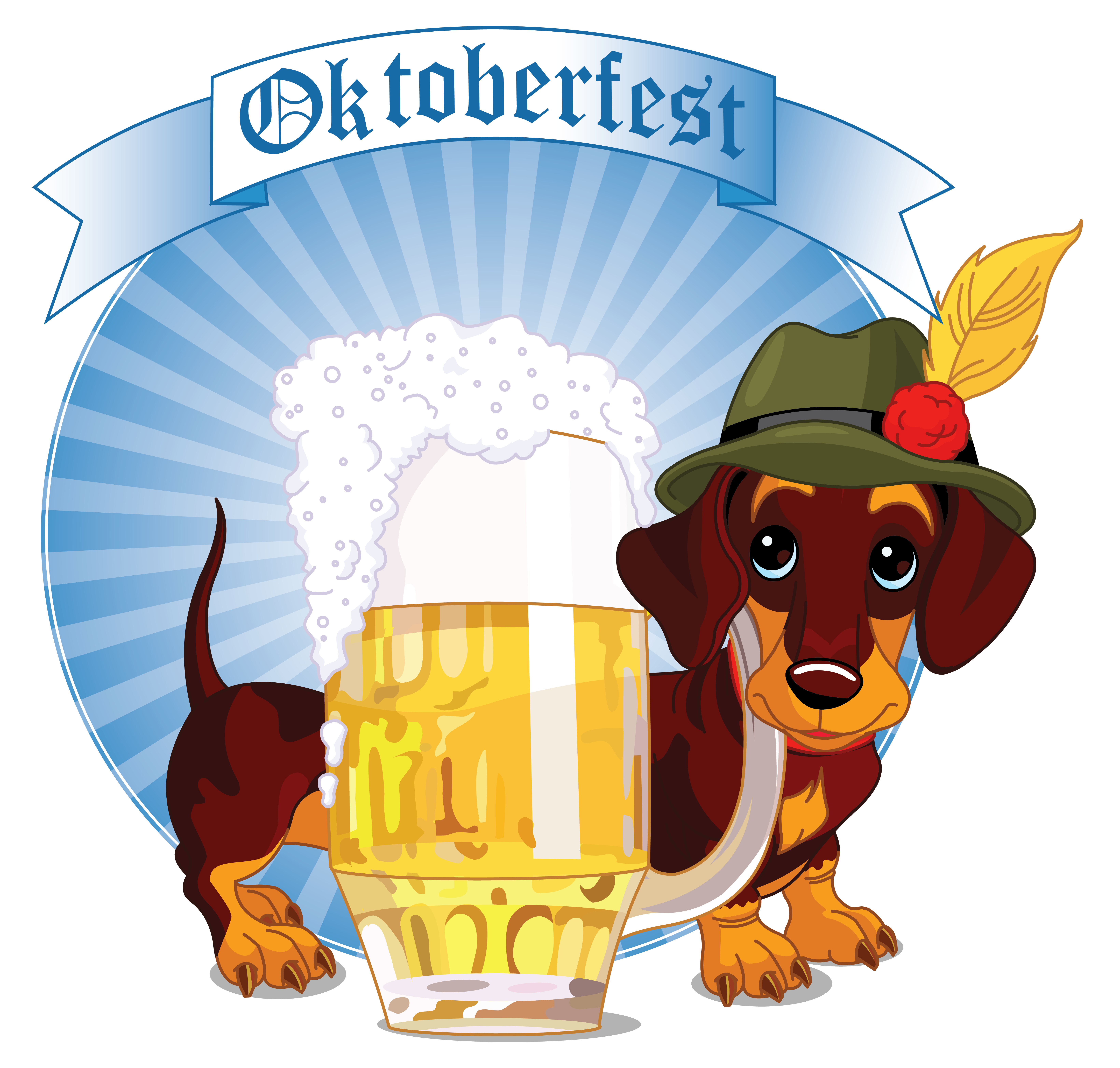 Oktoberfest decor with beer. Rose clipart dog