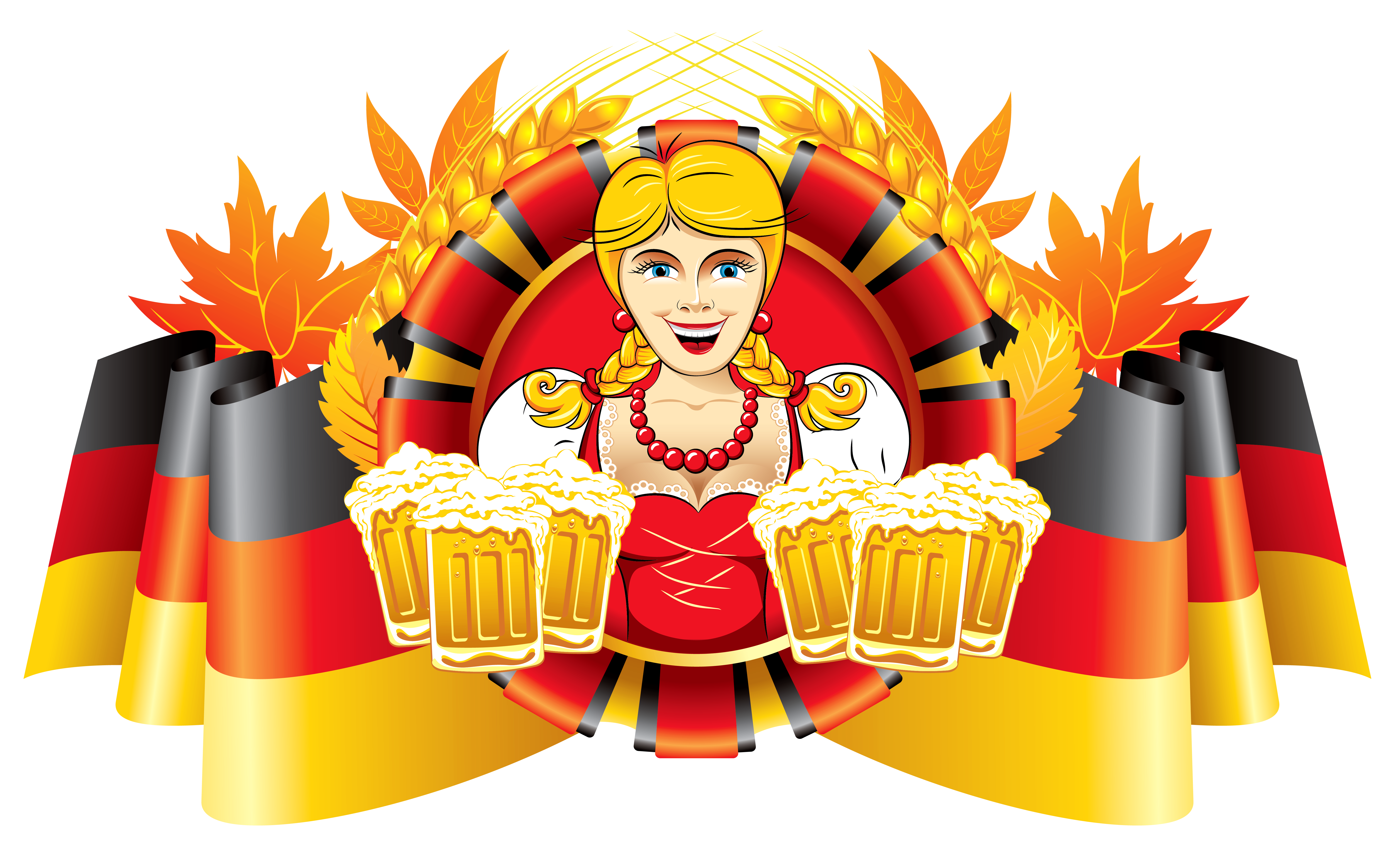 Oktoberfest decor flag and. Maid clipart german beer