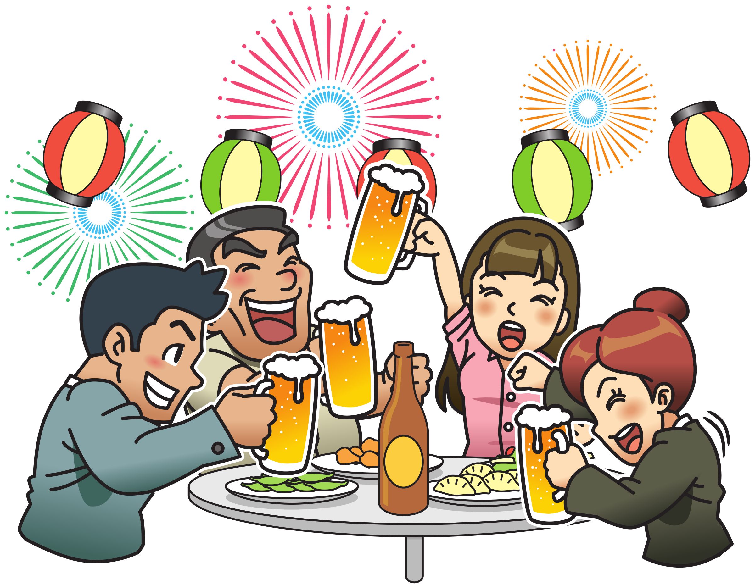 Beer garden with and. Clipart fireworks party