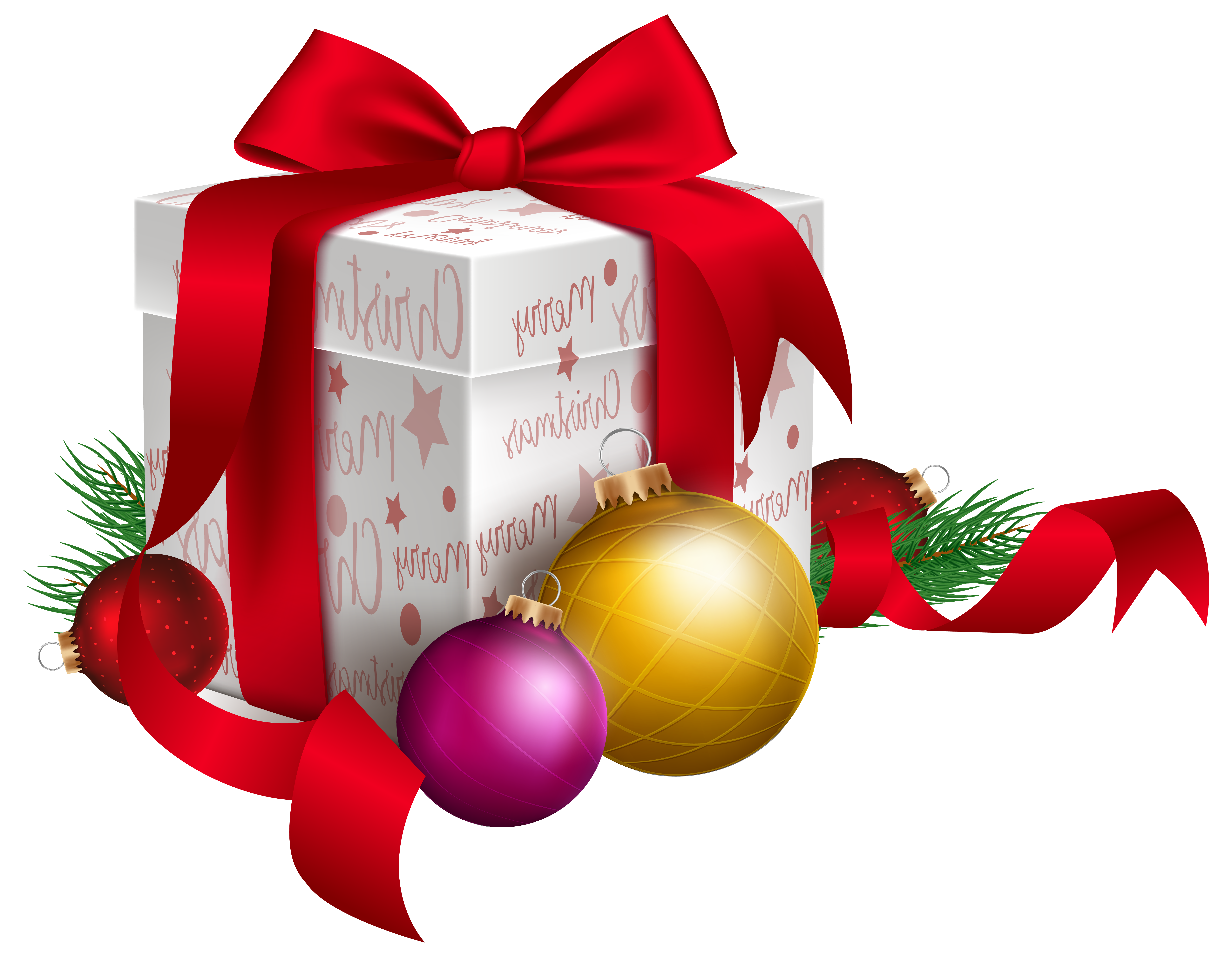 Png christmas images. Gift and ornaments transparent