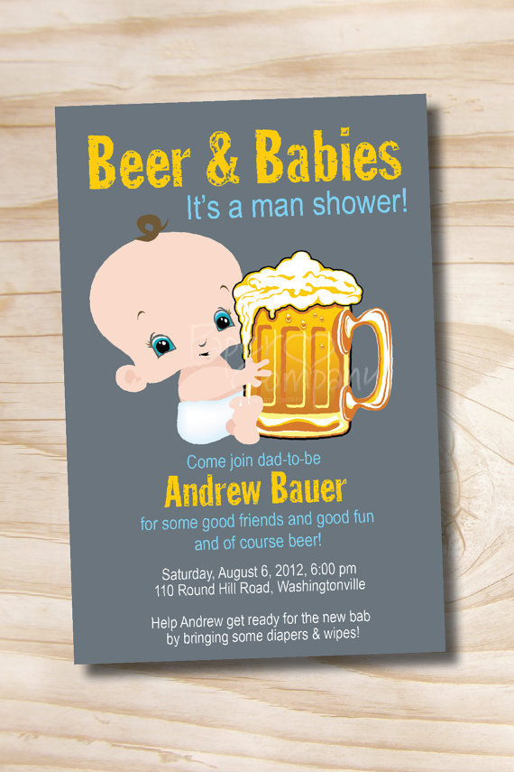 Man shower and babies. Diapers clipart beer