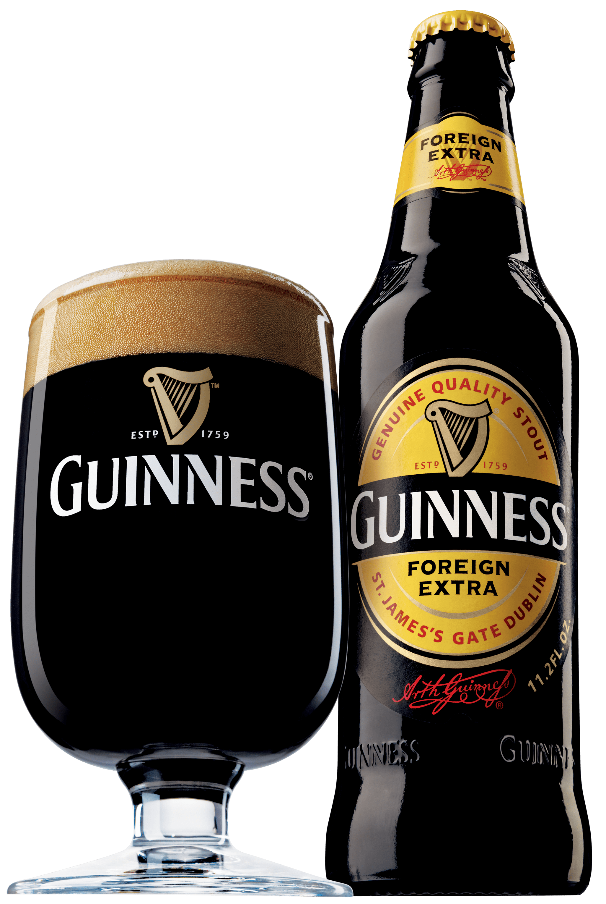 Foreign extra and glass. Guinness bottle png
