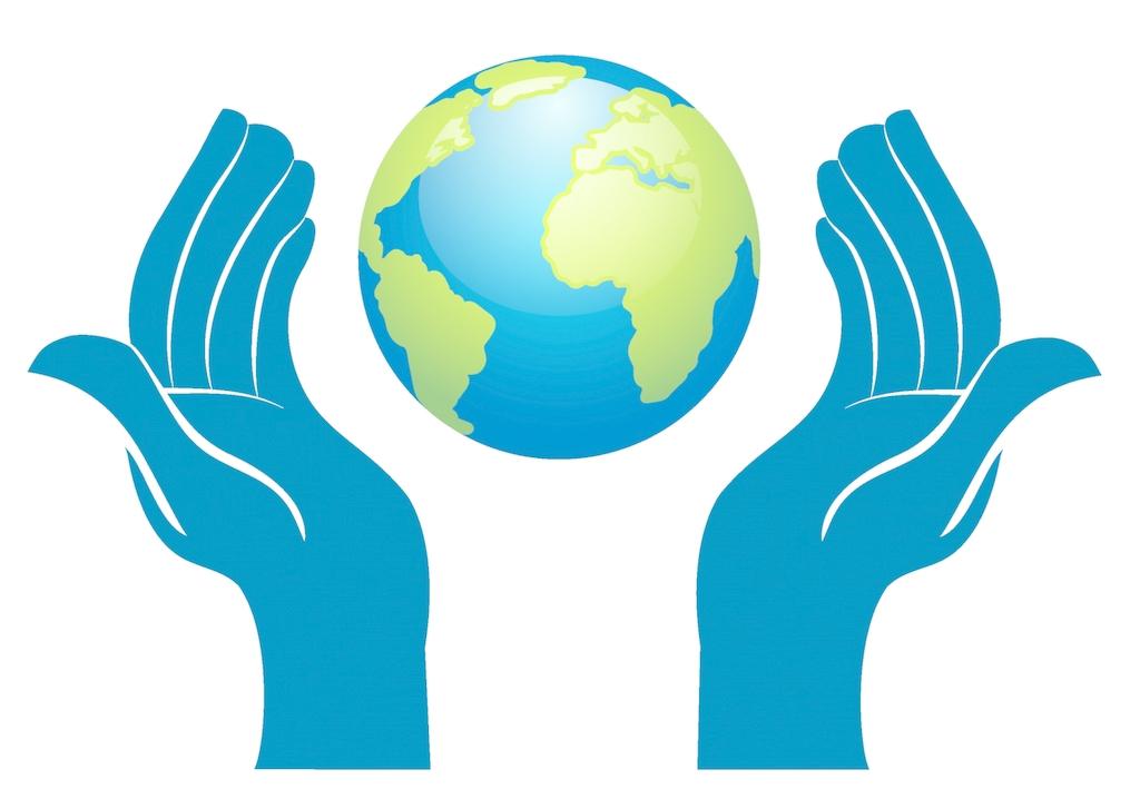 Hand clip art blue. Clipart earth hands