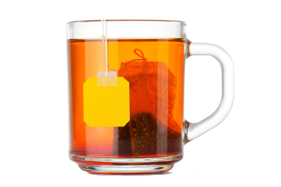 Teacup with tea bag. Cups clipart glass cup