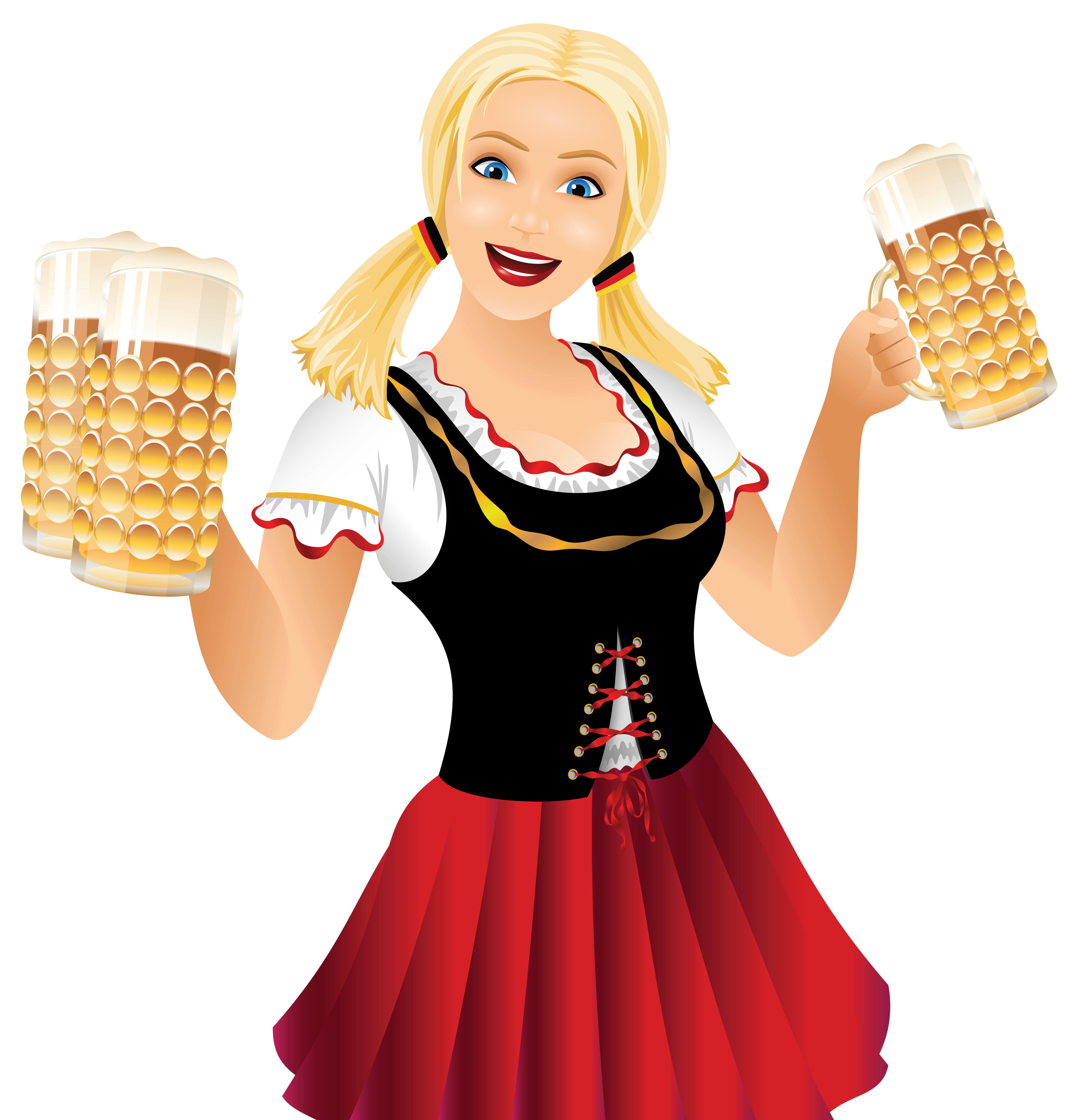 German clipart happy. Girl and beer