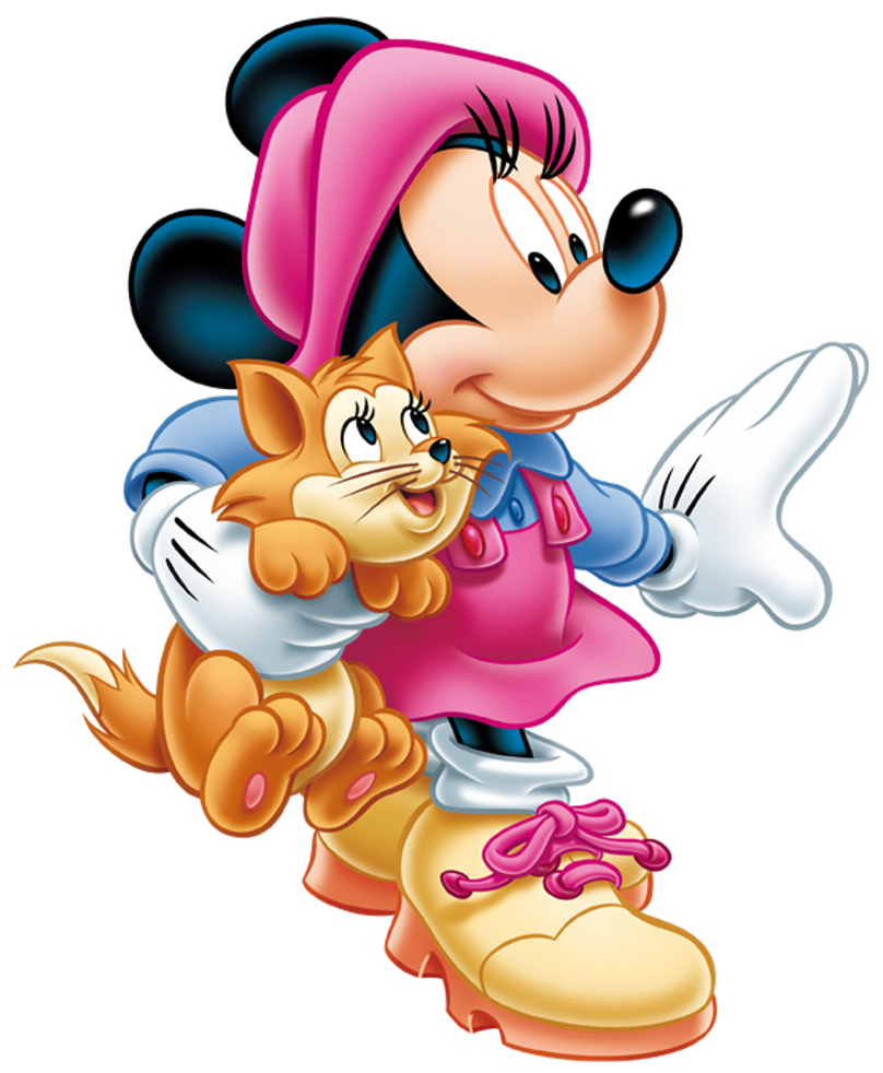 Winter clipart cat. Minnie mouse with kitten