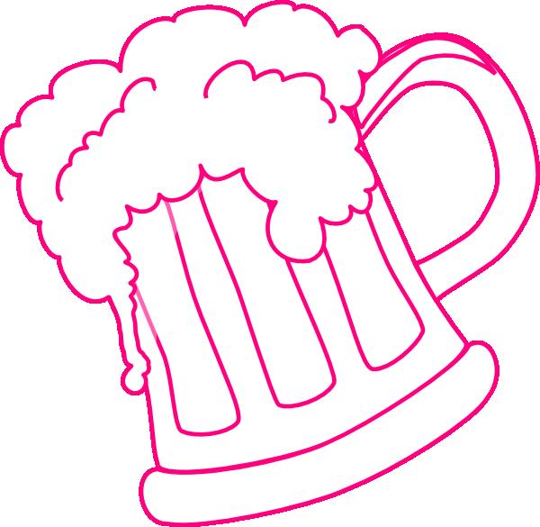 Pink beer mug clip. One clipart outline
