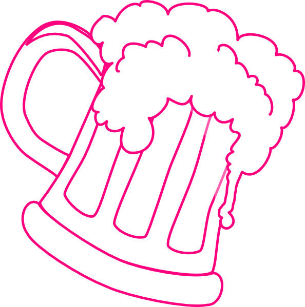 Cup clipart outline. Pink beer mug clip