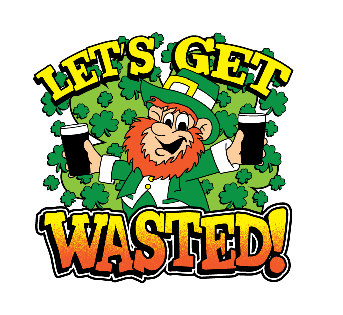 Lets get wasted leprechaun. Clipart beer pub crawl