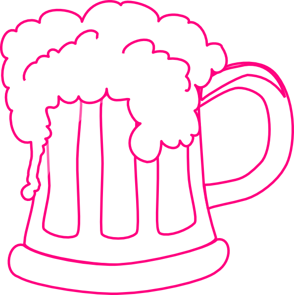 Mug clipart silhouette. Pink outline beer clip