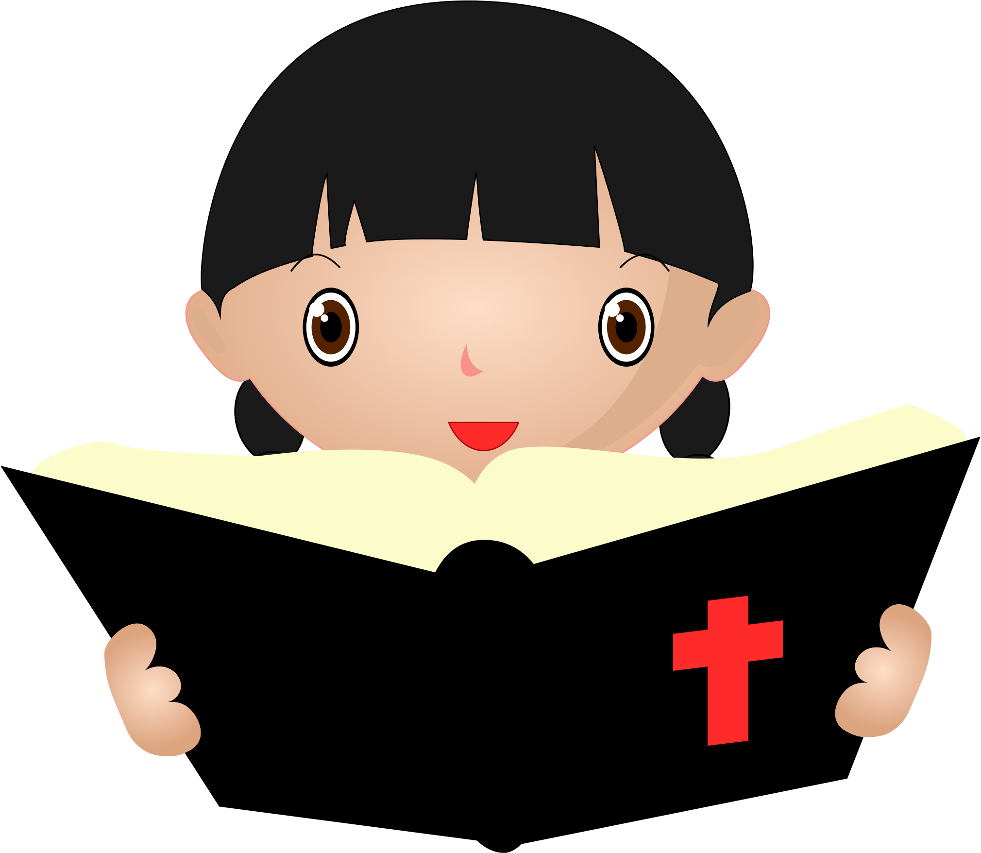 Girl studying big image. Clipart reading bible