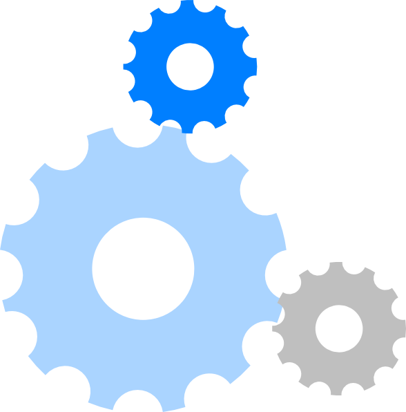 Blue gears frames illustrations. Gear clipart functionality