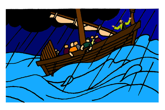 Jesus calms the mission. Water clipart storm