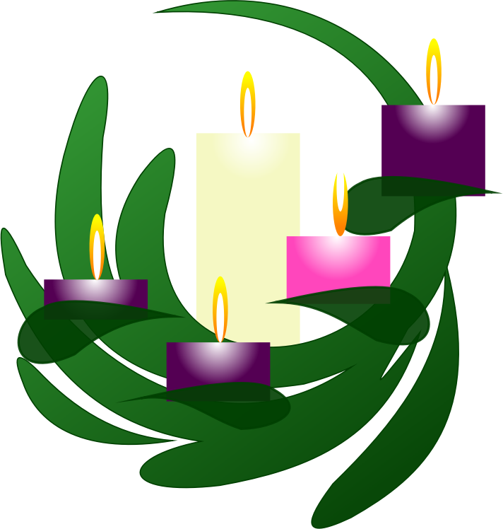 Wreath christmas eve medium. Clipart candle advent candle