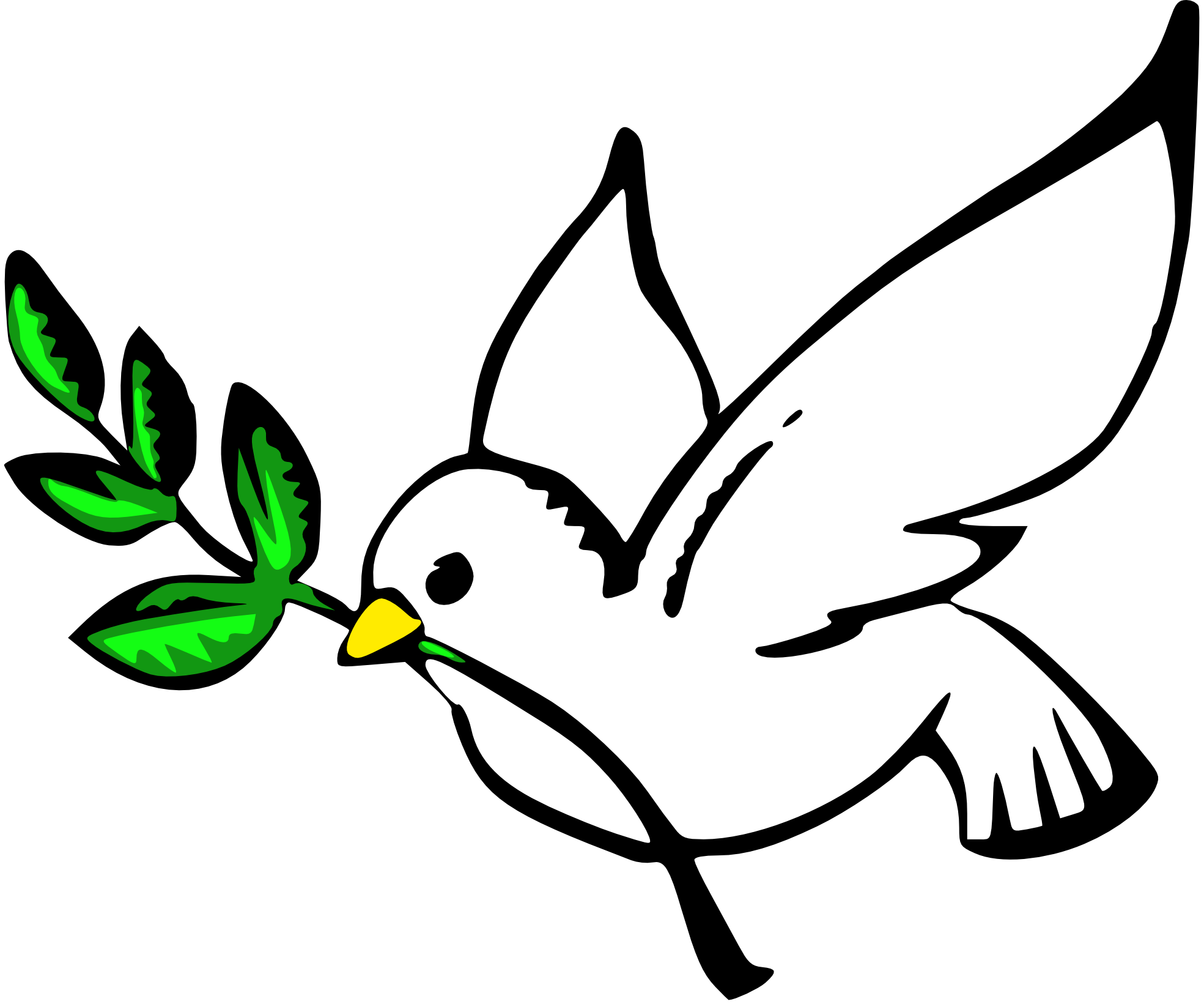 A with an olive. Dove clipart easter