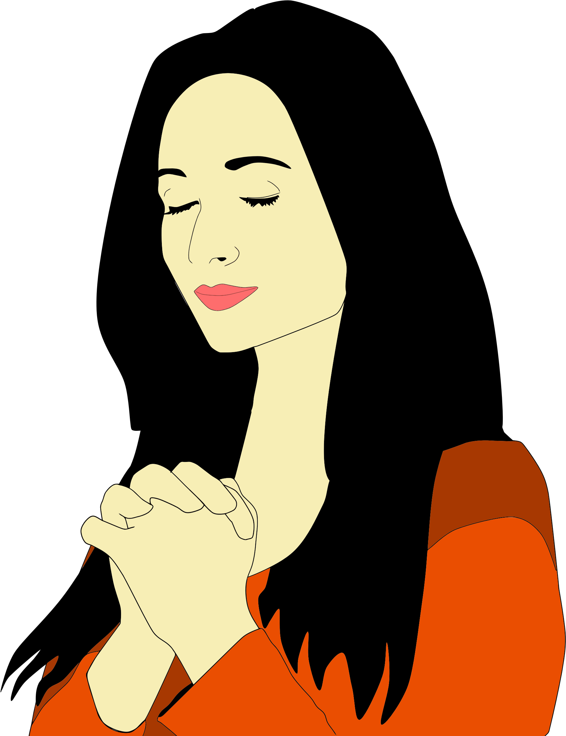 Empty tomb clipart cartoon. Silhouette woman praying at