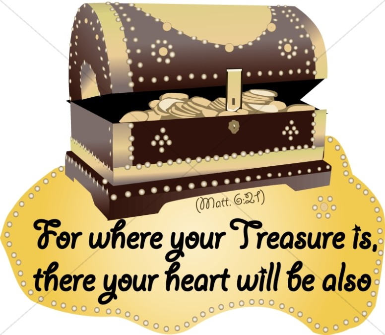 Treasure clipart word. Where your is jesus