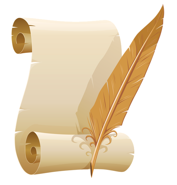 Scrolled paper and quill. Poetry clipart plume pen