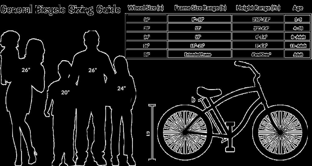 Size chart for cruisers. Clipart bike beach cruiser