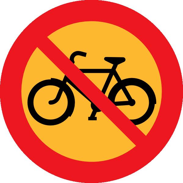Orange clipart bike. No bicycles roadsign clip