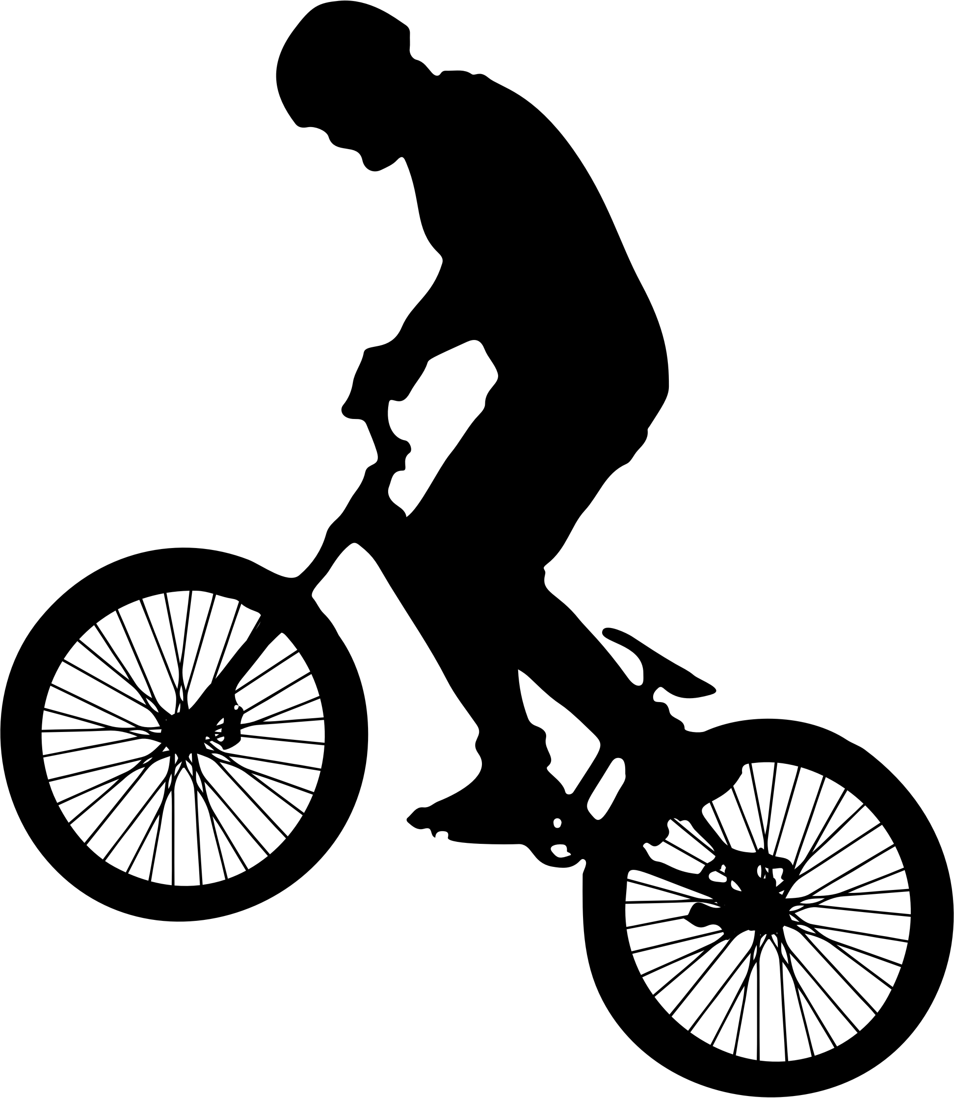 Man on bike silhouette. Cycle clipart person
