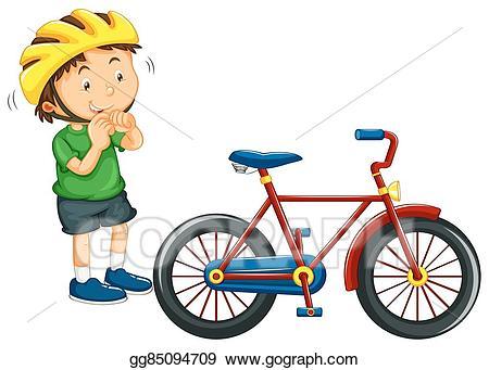 Helmet clipart cartoon bike. Vector stock boy wearing