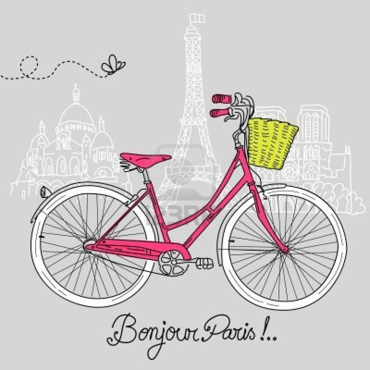 Clipart bicycle bike paris. Stock vector art ideas
