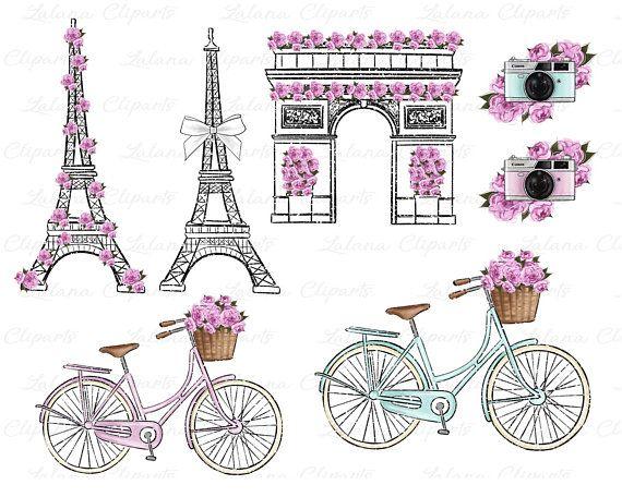 Spring pink fashion illustration. Clipart bicycle bike paris