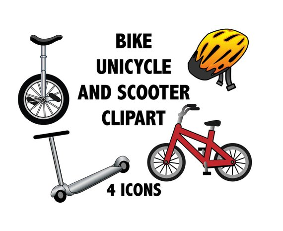 Cycle clipart bike scooter. And unicycle kids