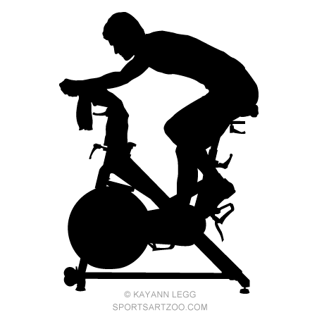 Fitness spinning silhouette designs. Cycle clipart spin bike