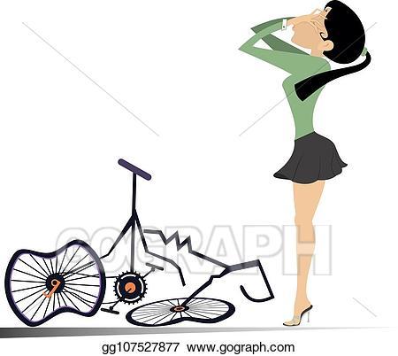 Eps illustration cyclist woman. Clipart bike broken bicycle