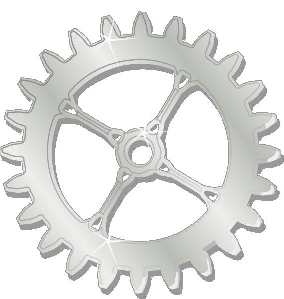 Metal chrome gear clip. Wheel clipart engineer