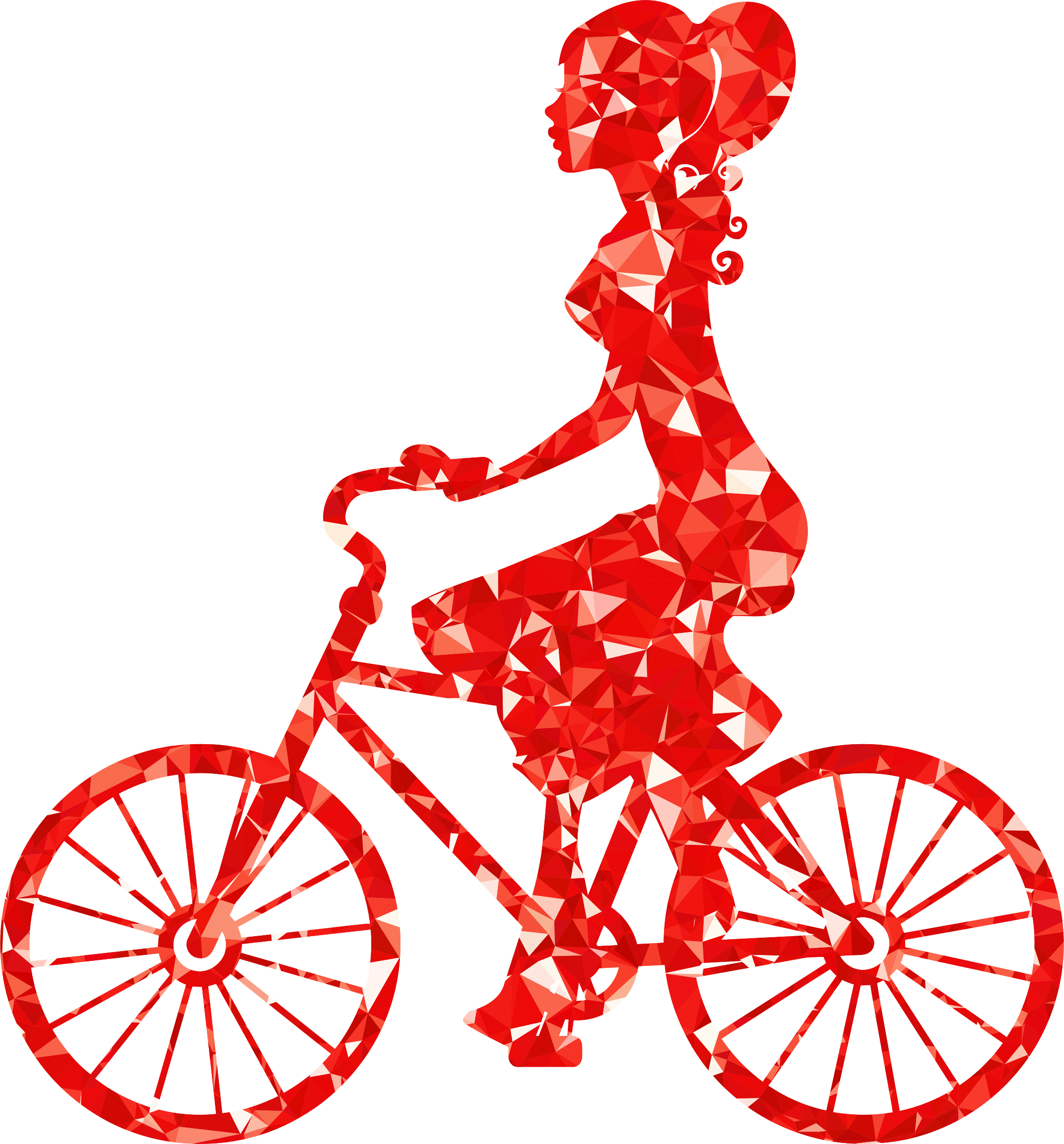 Ruby girl on bike. Cycle clipart bycicle