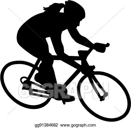 Eps vector bike bicycle. Cycle clipart female cyclist