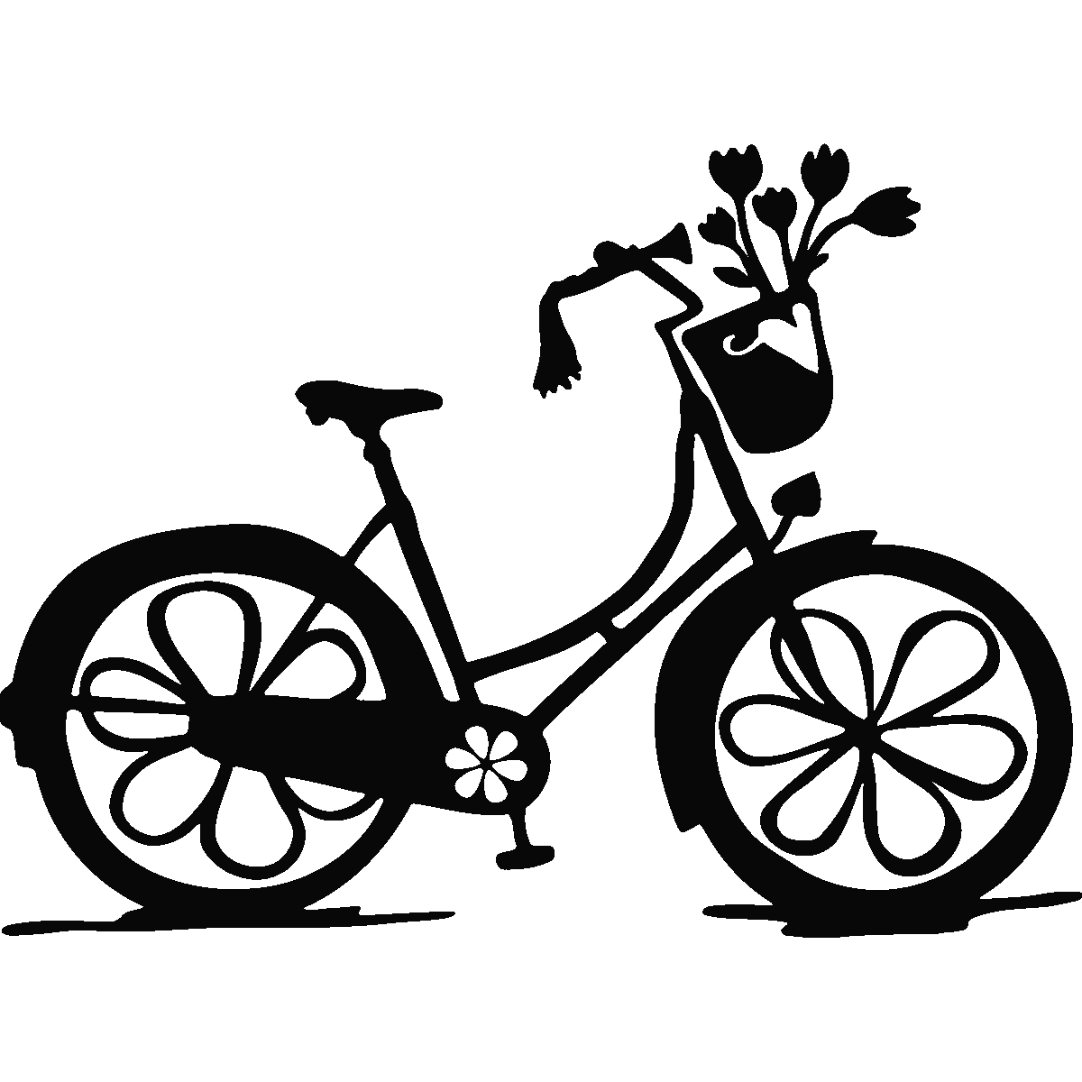 Sticker v lo floral. Engagement clipart tandem bicycle