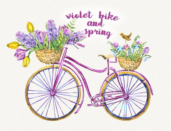 Clipart bike floral. Bicycle spring flower
