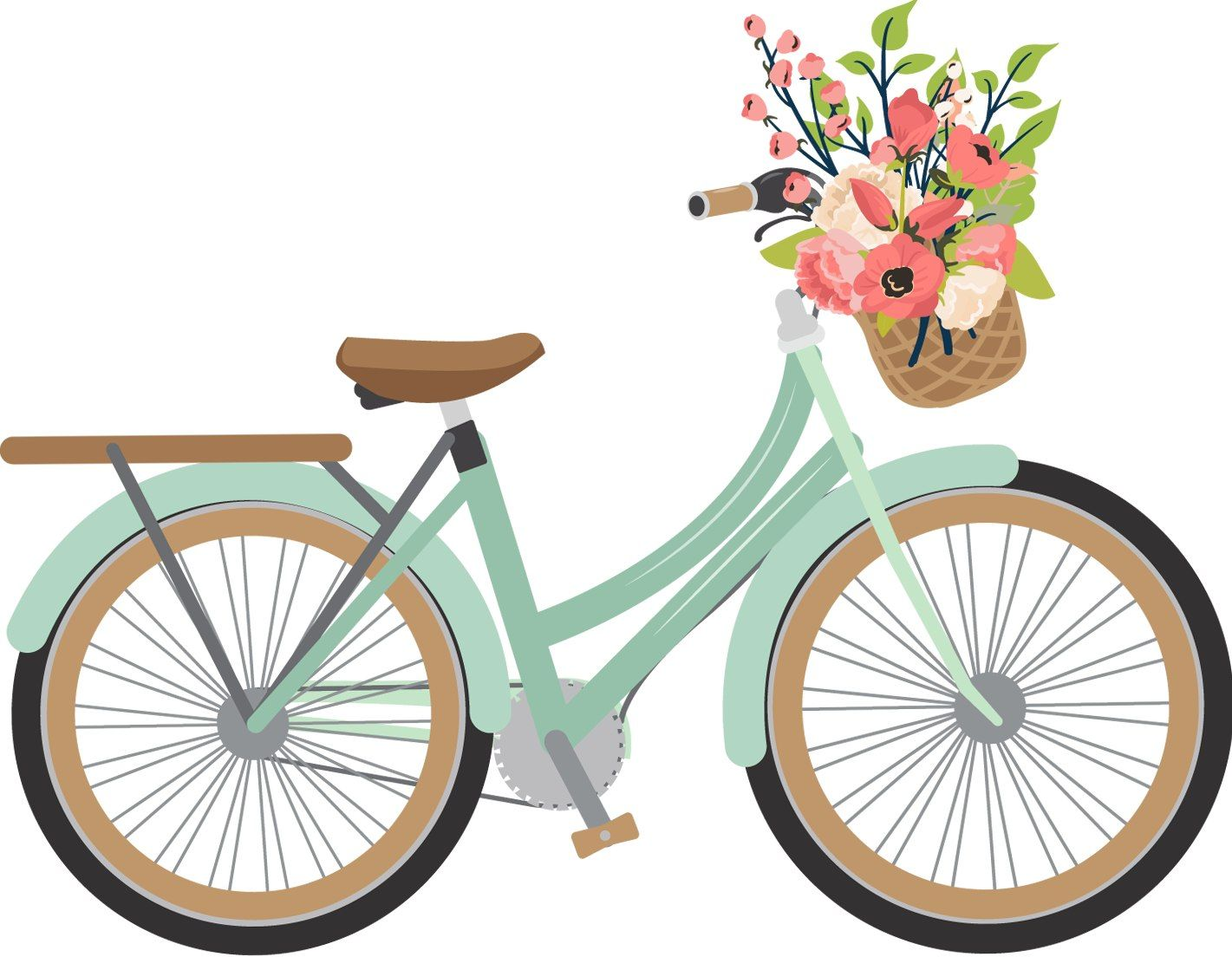 Vintage bicycle with clip. Cycle clipart basket