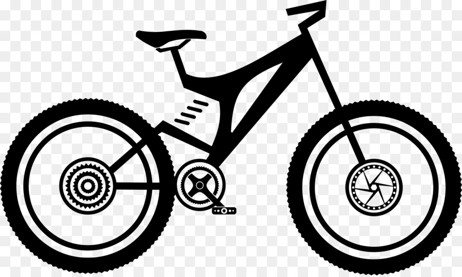 Black and white frame. Clipart bicycle front